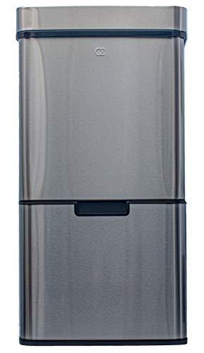 *FlinQ Mülleimer Edelstahl- Mülltrennsystem 3fach + 1 Extra Biomüll behälter – Soft-Close-Deckels – 72 Liter*