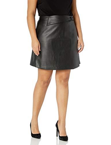 City Chic Women's Apparel Women's Plus Size A line Leather Look Mini Skirt, Black, 18
