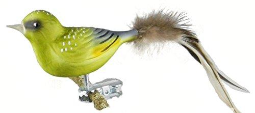 Thüringer Weihnacht 52-011 Glas-Vogel, grünfink mit Naturfedern