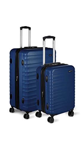 AmazonBasics Hardside Spinner, Carry-On, Expandable Suitcase Luggage with Wheels, Navy - 2-Piece Set