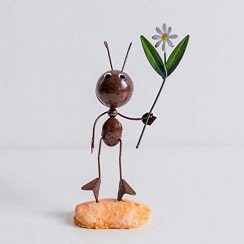 hacxiaoming standbeelden creatieve schattige moderne metalen dieren ambachten huis decoratie kantoor decoratie moderne stijl en creatieve decoratieve elementen nemen bloem mieren
