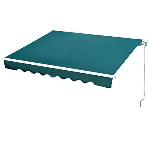 Outsunny Toldo Manual Retráctil con Manivela 250x200 cm de Aluminio Ángulo Ajustable Protección Solar para Ventanas Puertas Balcón Exterior Verde