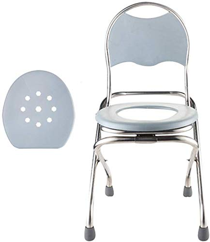 WEHOLY Nachttischstuhl, zusammenklappbar, Toilettenstuhl, Toilettenstuhl mit Spritzschutz, geeignet für Erwachsene, Menschen mit Behinderungen, Senioren, Kein Fass, 38 cm