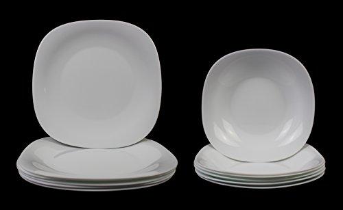 12 pcs Parma Blanc brillant de table Lot de, comprenant 6 x 27 x 27 cm Assiettes et 6 bols à soupe X 23 x 23 cm/dessert, Porcelaine, 12-piece