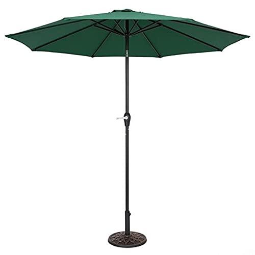 SKYWPOJU Sombrilla de jardín inclinable 2.7M, Parasol para Exteriores con manivela, protección UV, Poste de Hierro (Color : Green)