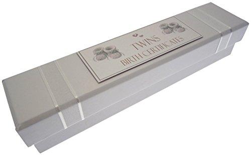 White Cotton Cards Chaussons pour bébés jumeaux avec certificat «Twins Birth Certificate» (Argent)