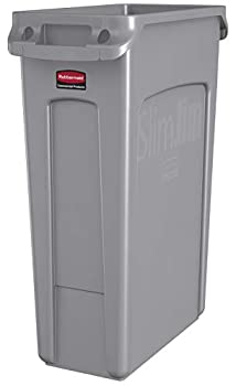 Rubbermaid Commercial Products Slim Jim Plastic Rectangular Trash/Garbage Can with Venting Channels 23 Gallon Gray  FG354060GRAY