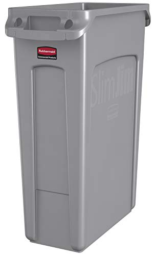 Rubbermaid Commercial Products Slim Jim Plastic Rectangular Trash/Garbage Can With Venting Channels, 23 Gallon, Gray (FG354060GRAY)