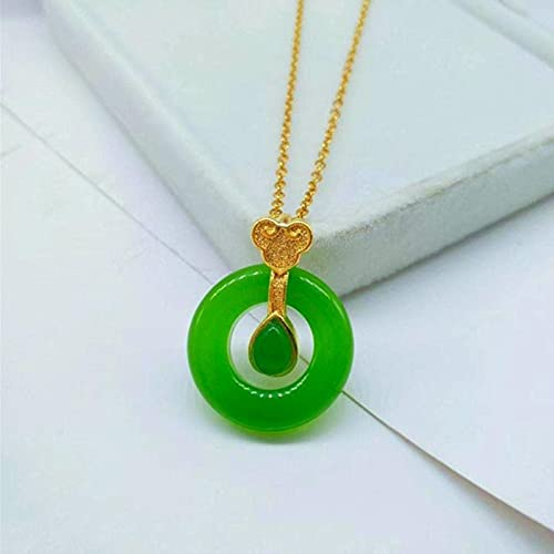 Shawari Collar con Colgante de rosquilla de Jade Natural Hetian 925 joyería de Moda de Plata Amuleto de calcedonia para Mujeres