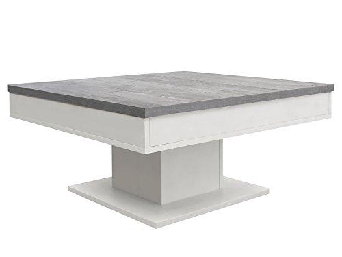 möbelando Couchtisch Sofatisch Holztisch Tisch Wohnzimmertisch Beistelltisch Cobbie I Weiß-Matt/Beton