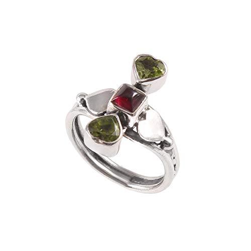 Anillo de piedras preciosas de granate y peridoto AAA natural   Anillo de plata de ley 925   Anillo de regalo para mujer   Anillo de piedras preciosas hecho a mano  Tamaño del anillo 5.5 EE. UU.
