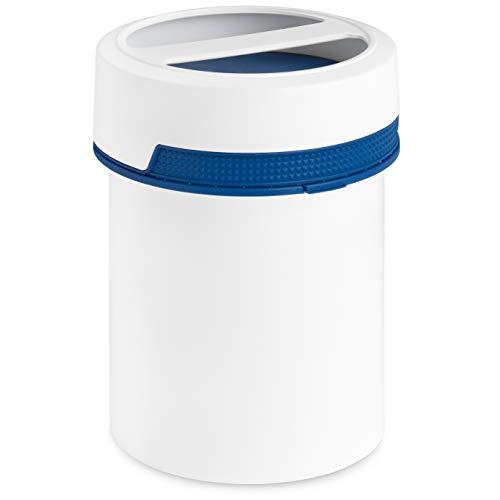MARKESYSTEM - Bote HERMÉTICO Catering Premium - (1,5 Litros, azul) - Contenedor con Tapa de Rosca y Asa - Envase Alimentos Frio y Calor - Líquidos y sólidos - Tapa Azul + Kit etiquetado