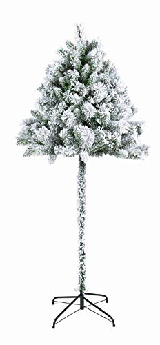 Garden Store Direct Half Parasol Christmas Tree 5ft, 6ft & 7ft - Green or Snowy/Flocked (6ft (180cm), Snowy/Flocked)