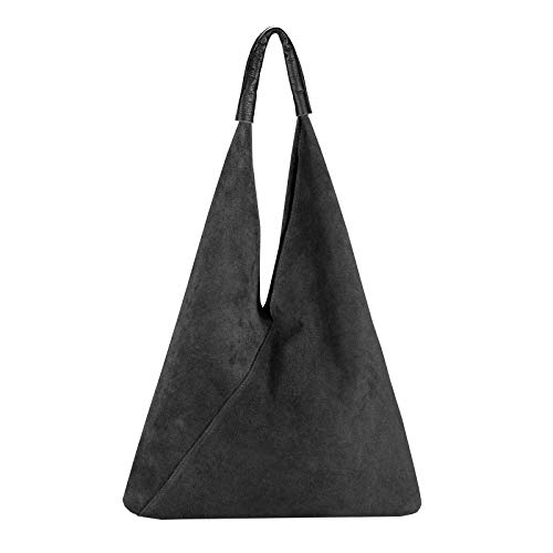 OBC Made in Italy Damen XXL Leder Tasche Handtasche Wildleder Shopper Schultertasche Hobo-Bag Umhängetasche Beuteltasche Velourleder DIN-A4 Ledertasche Schwarz