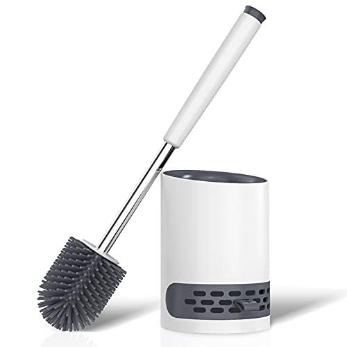 Toilettenbürste, WC Bürste Silikon & Behälter, WC-Bürste mit Schnell Trocknendem Haltersatz für Badezimmer Gäste-WC, Wandmontage und Stehen