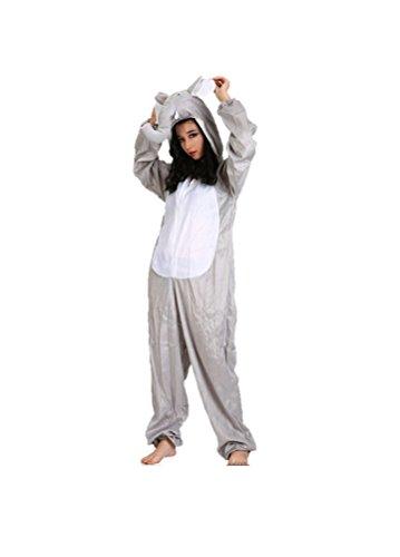 Disfraces de Animales Adultos Unisex Pijamas Traje de Disfraces Cosplay Onesies (Elefante)