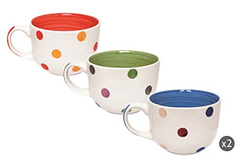 Excelsa Pois Set aus 6 Jumbo-Tassen, Keramik