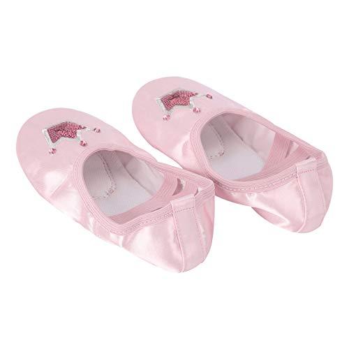 iiniim Zapatillas de Danza Zapatillas de Ballet con Lentejuelas Corona Satinada Zapatos de Ballet y Gimnasia Baile para Niñas Niños Rosa 29