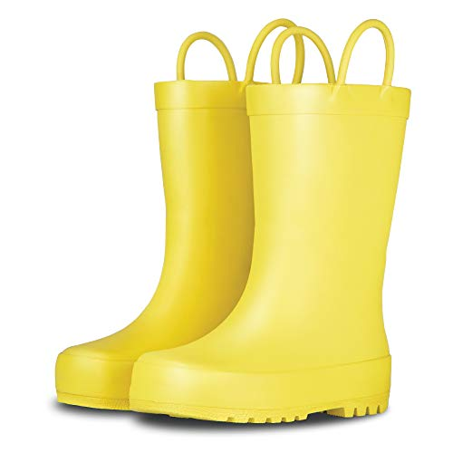 LONECONE Elementary Collection - Premium Natural Rubber Rain Boots with Matte Finish for Toddlers and Kids, Sunshine Yellow, Toddler 4