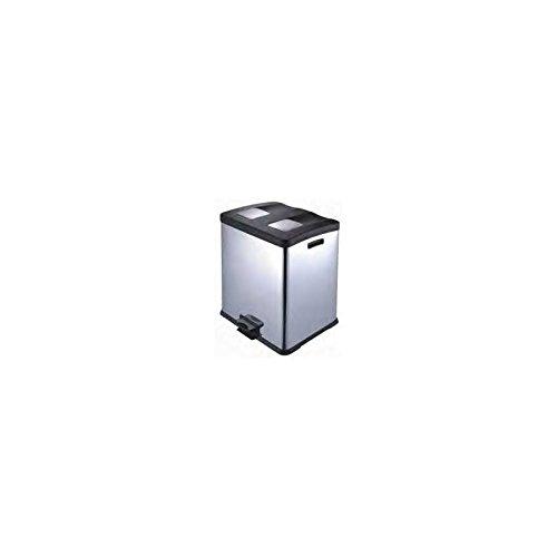 Papelera reciclaje fabricada en acero inoxidable, con tapa y remates en polipropileno de color negro. Dos cubos interiores extraíbles de PVC negro 2x30l.Med. 50x46x67cm