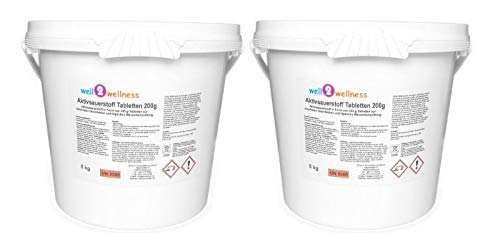 well2wellness Aktivsauerstoff Tabletten 200g / Sauerstofftabletten/O²-Tabletten 200g chlorfrei - 10 kg (2 x 5kg)