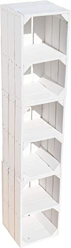 Kistenkolli Altes Land 3-delige set plankkkisten Hilde wit met middenplank dressoir opbergkist nachtkastje opbergkist staande plank houten kist met opbergvak