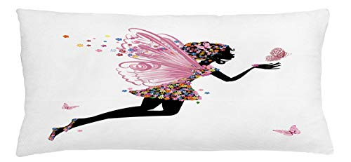 ABAKUHAUS Fairy Throw Pillow Cushion Cover, Floral Arrangement Dress Pattern Winged Girl with Butterflies Cartoon Style Angel, Decorative Square Accent Pillow Case, 36 X 16 Inches, Multicolor