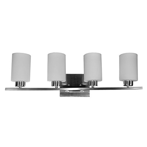 """HomeSelects 7535 Vanity-Track Light, Brushed Nickel with Alabaster Glass Globes, 6""""L x 30""""W x 8""""H"""