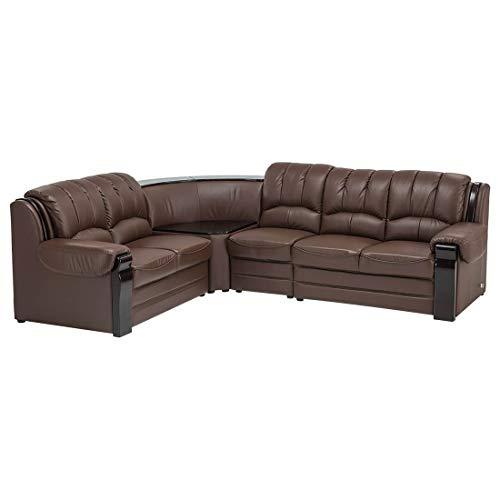 Durian Lucas Brown Leatherette Five Seater L Shape Sofa (Lucas/A)