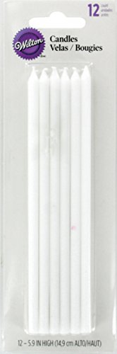 Wilton White Birthday Candles, Long, pack of 12
