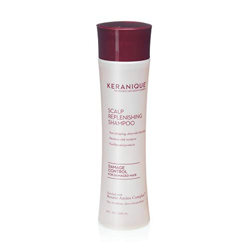 Keranique Scalp Replenishing Keratin Shampoo Damage Control for Thinning Hair, Hair Growth   Keratin Amino Complex, Free of Sulfates, Dyes and Parabens, 8 Fl Oz