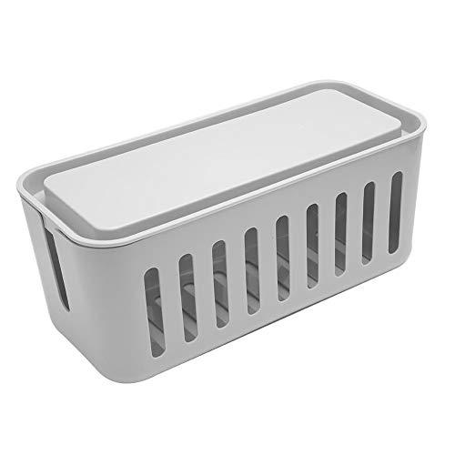 Cosiki Leichte Aufbewahrungsbox für Netzkabel, staubdichte, modische Kabel-Organizer-Box für zu Hause(Gray)