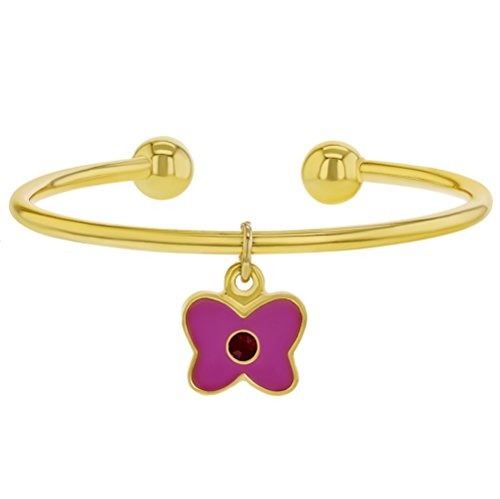 In Season Jewelry - Baby Mädchen - Armreif Emaille Schmetterling Charm Manschette 18k Vergoldet Rosa