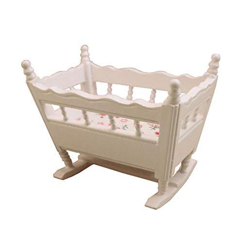 Accesorio para casa de muñecas, 1/12 casa de muñecas miniatura cuna de madera modelo accesorio de muebles