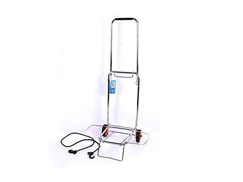 Vetrineinrete® Carrello porta valigia pieghevole e richiudibile in acciaio porta pacchi manuale per trasporti portavaligie con elastico di sicurezza 8