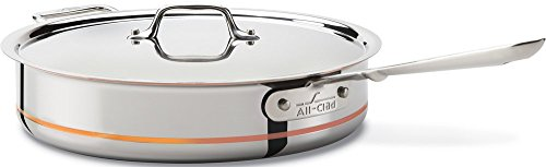 All-Clad 6405 SS Copper Core 5-Ply Bonded Dishwasher Safe Saute Pan / Cookware, 5-Quart, Silver (Renewed)