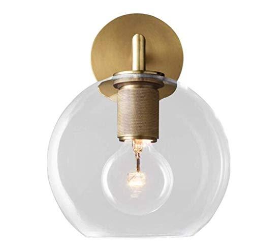 MGWA Luces de Pared Lámpara de Pared Moderna clásica Lámpara de Pared de Cristal Creativa Laps CLAR Class Screen Solid Lámpara de latón Cuerpo, Cobre, a