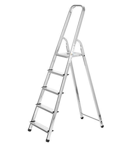 packer PRO Escaleras Plegables Aluminio de Tijera Super Resistente hasta 150Kg, Acero y Aluminio Antideslizantes, Altura de Trabajo hasta 290cm, 5 Peldaños