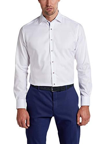 eterna Langarm Hemd Modern Fit Natté strukturiert,Weiß,44