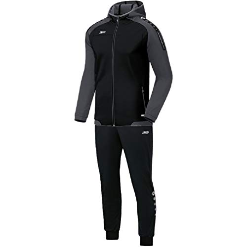 JAKO Herren Champ mit Kapuze Trainingsanzug Polyester, schwarz/anthrazit, L