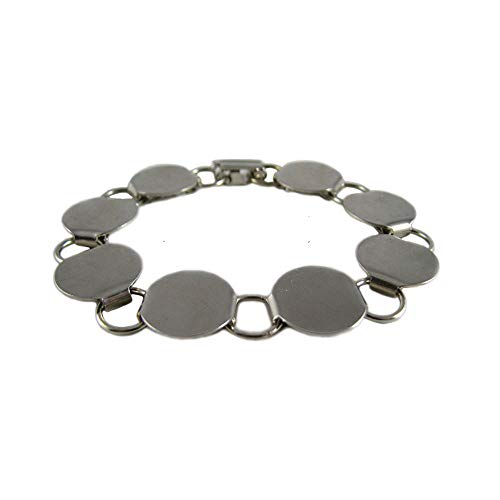 """Disk Loop Chain Bracelet Blank Chunky with 16mm Pads - Qty 3 (7.5"""")"""