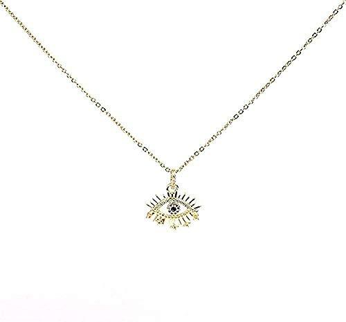 WYDSFWL Collar Mujer Hombre Moda Collar de Diamantes de imitación Brillante Dorado Zirconia cúbica Griego Forma de Ojo Azul Colgante Collar Joyas Accesorios para Mujer