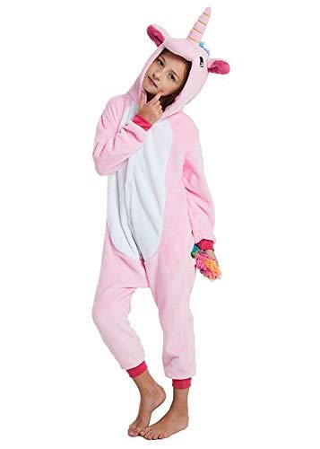 Ghope Enfant Licorne Pyjama en Flanelle Kigurumi Fille Garçon Déguisement Onesie Cosplay Combinaison Animaux Une pièce Costume à Capuche Vêtement de Nuit Tenus Halloween Onesie Carvanal Noël