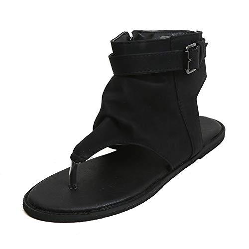 Hzyshoe Sandalen Damen Flip Flops Keilabsatz Sommer Flache Leder Peep Toe Plateau Espadrille Sandaletten, schwarz,38