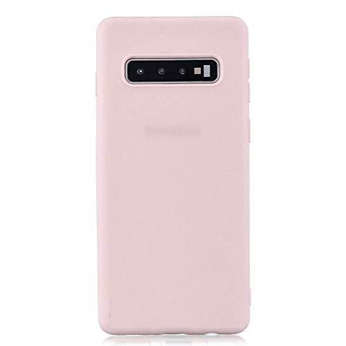 cuzz Funda para Samsung Galaxy S10 Plus+{Protector de Pantalla de Vidrio Templado} Carcasa Silicona Suave Gel Rasguño y Resistente Teléfono Móvil Cover-Rosa Claro