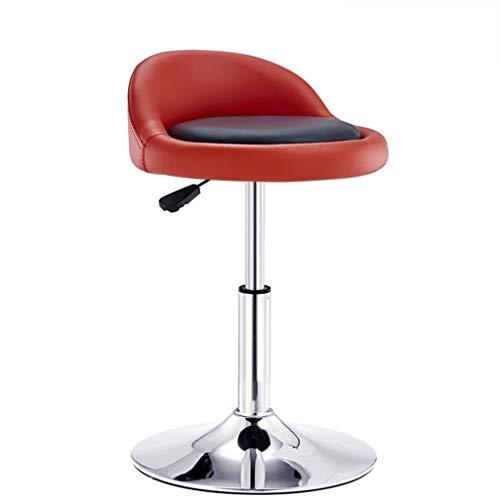 YLCJ Barhocker Stuhl mit schwarzem PU-Sitz Einstellbare Gasfeder, Höhe 40-53 cm für die Küche Theke Barhocker Verchromte Platte Sockel max. Laden Sie 150 kg in rot