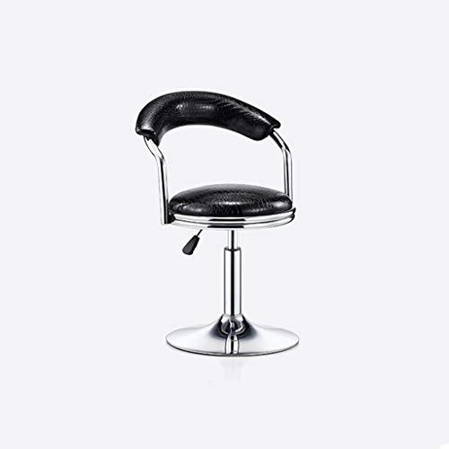 LHY- Bar stol, snurrstol, barnstol, bar stol, ryggstöd, hem, reception stol, bar stol, avföring Halkfri (Color : Black(Crocodile skin))