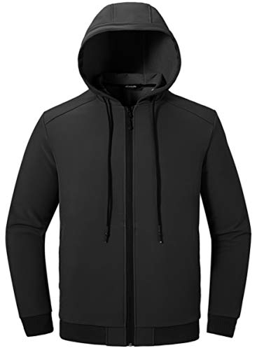 Wantdo Men's Casual Jacket Outdoor Sportswear Windbreaker Lightweight Jacket Coat US XL Black