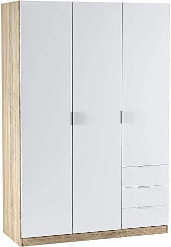 Mobelcenter – Armario 3 Puertas 3 Cajones – Armario Matrimonio Acabado Color Blanco Artik y Roble Canadian – Medidas: Ancho: 121 cm x Fondo: 52 cm x Alto: 180 cm - (0984)