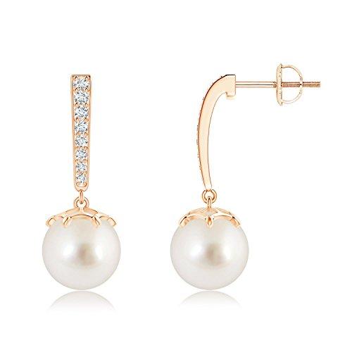 Solitario orecchini pendenti con perla coltivata da donna con dettagli in brillantini e Oro rosa, cod. ANG-E-SE1196SSPRD-RG-AAAA-9